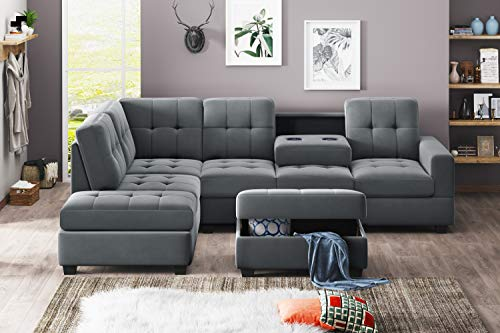 UNIROI Modern Microfiber Sectional, L-Shaped Couch Sofa...