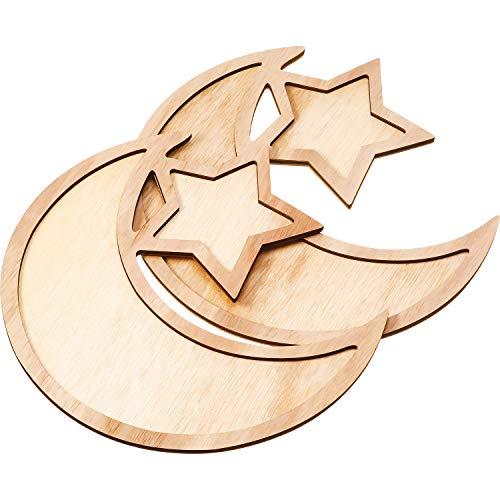 2 Sets Ramadan Wood Tray Moon Wooden Star Tableware Eid...
