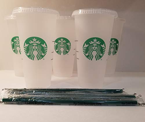 Starbuck 5 Pack Bundle - Reusable Frosted 24 oz Cold...