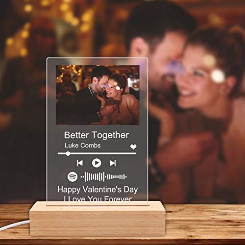 Custom Spotify Plaque Art Night Light Personalized Scannable...