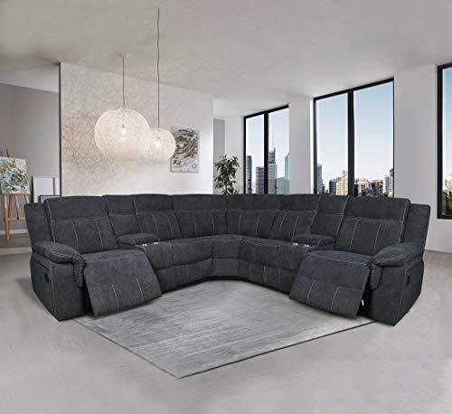 Manual Reclining Sectional Sofa Fabric Upholstery Sofa...