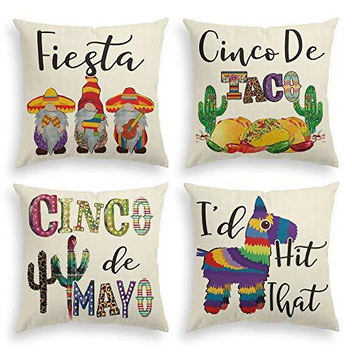 AVOIN Cinco De Mayo Fiesta Sombrero Gnome Throw Pillow...