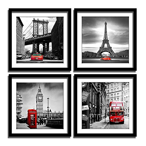 ENGLANT 4 Pieces Framed Canvas Wall Art, Black White...