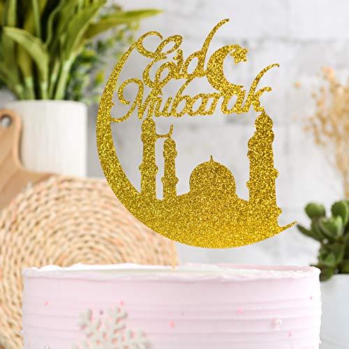 Muslim Eid Festival Cake Topper Gold,Home Celebrating...