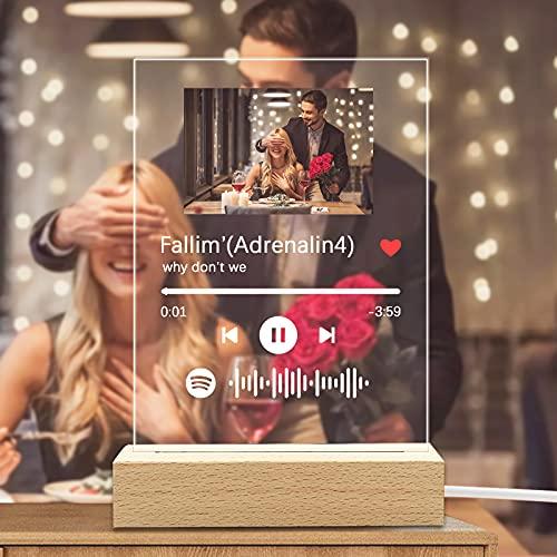 Q&K Custom Scannable Spotify Code Music Plaque Frame Lights...