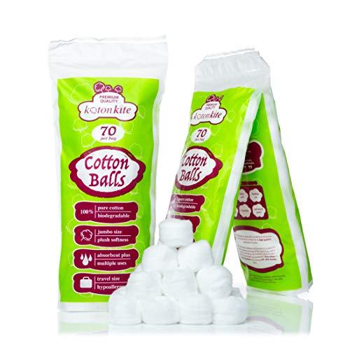 Jumbo Cotton balls - 210 ct (3 packs of 70) - Premium...