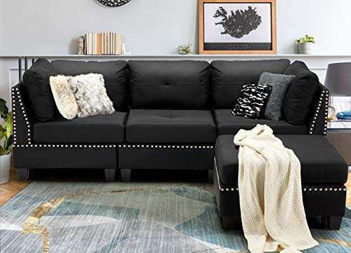 """Esright 88.6"""" Convertible Sectional Sofa Couch with..."""