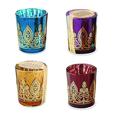 Kate Aspen Indian Jewel Henna Glass Votives, Tealight...