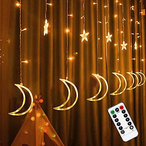 FUNPENY Star Moon Curtain String Lights, 138 LED Window...