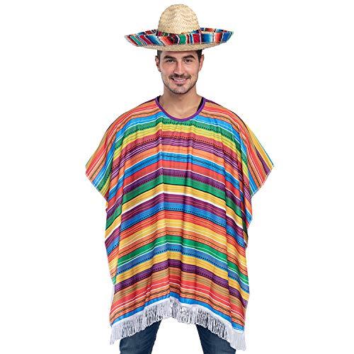 Cinco de Mayo Fiesta Serape Poncho Costume for Adults...