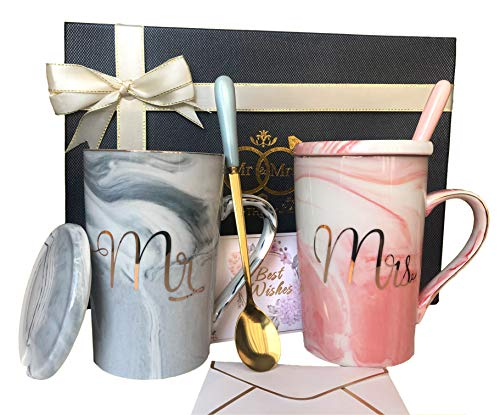 Mr and Mrs Mugs Set - Wedding Gifts for Couple,...