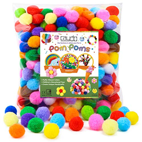 Caydo 300 Pieces 1 Inch Assorted Pompoms Multicolor...