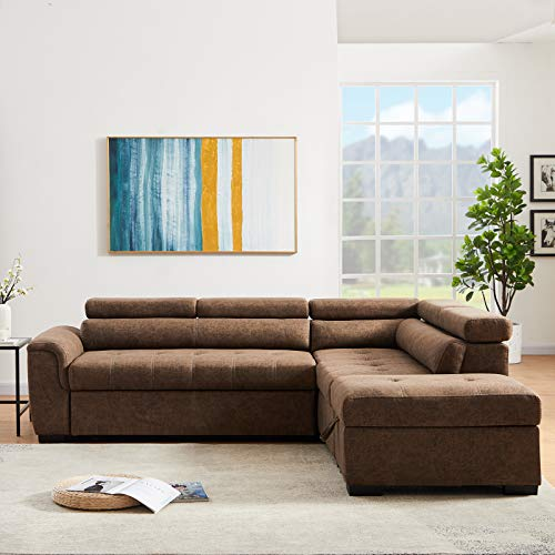 Convertible Sectional Sleeper Sofa Set with Pull Out...