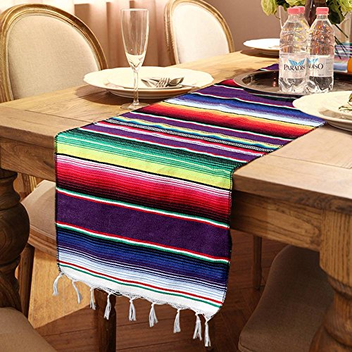 OurWarm 14 x 84 inch Mexican Serape Table Runner for...
