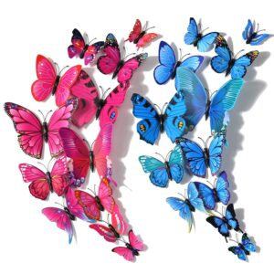 24pcs 3D Butterfly Removable Mural Stickers Wall Stickers Decal for Home Decor Kids Girls Baby Women Bedroom Bathroom Living Room(Rose Red/Blue)