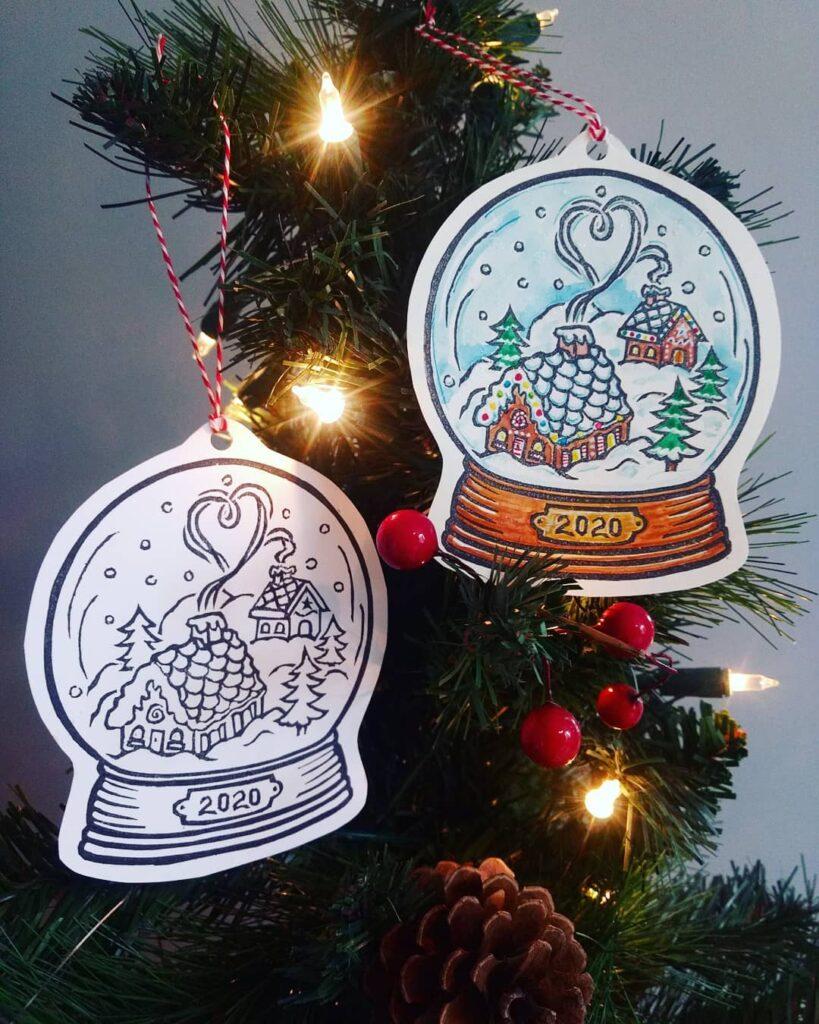 snow globe ornament diy laminated